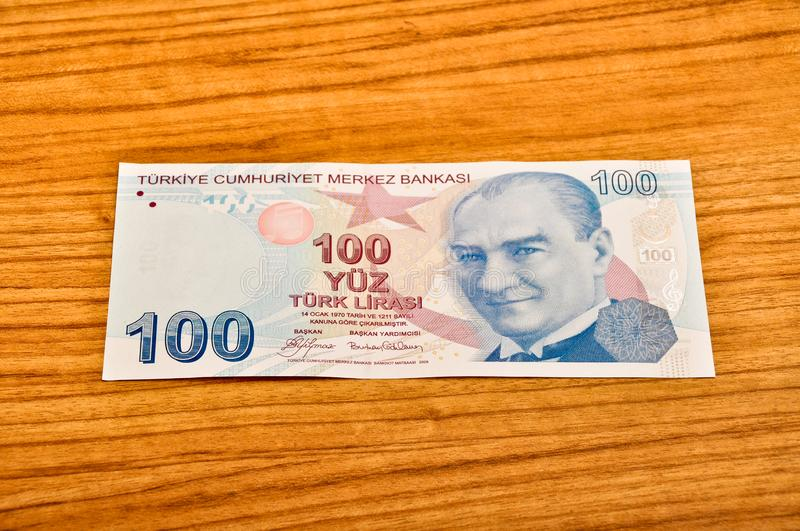 100 Turkish lira banknotes front view royalty free stock photography
