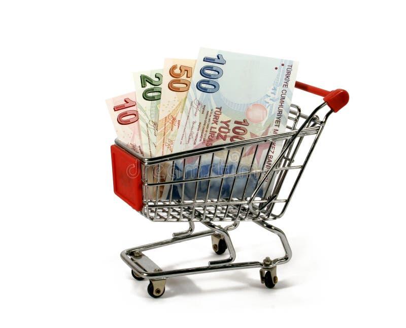 Turkish lira in shopping trolley royalty free stock image