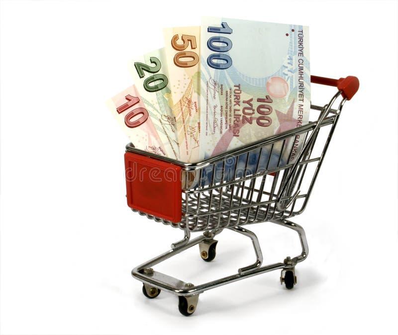 Turkish lira in shopping trolley royalty free stock photo