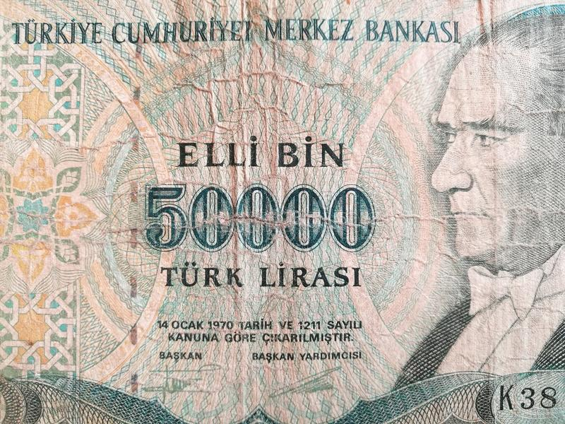 Turkish lira, Turkey paper bank note money royalty free stock images