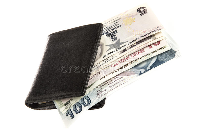 Turkish lira in a wallet on white royalty free stock photos