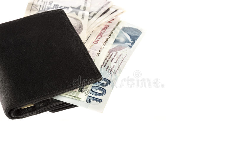 Turkish lira in a wallet on white stock images