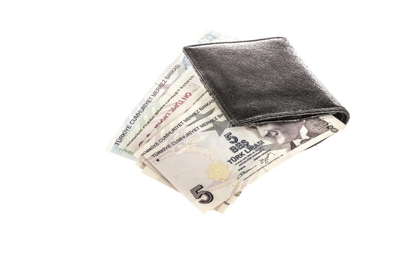 Turkish lira in a wallet on white royalty free stock photography