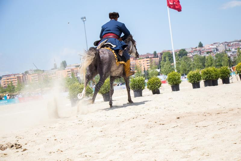 Turkish horseman ethnic clothes examples stock photos
