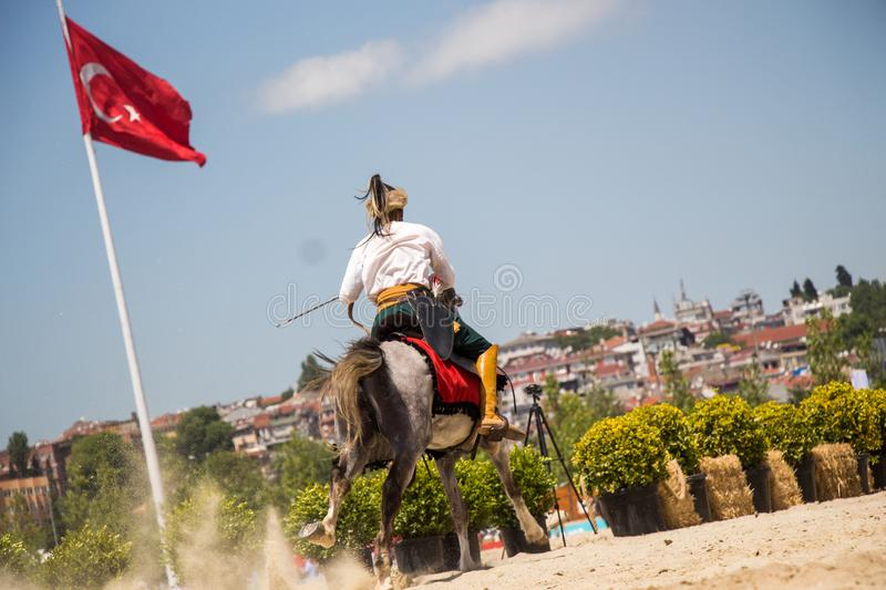 Turkish horseman ethnic clothes examples stock image