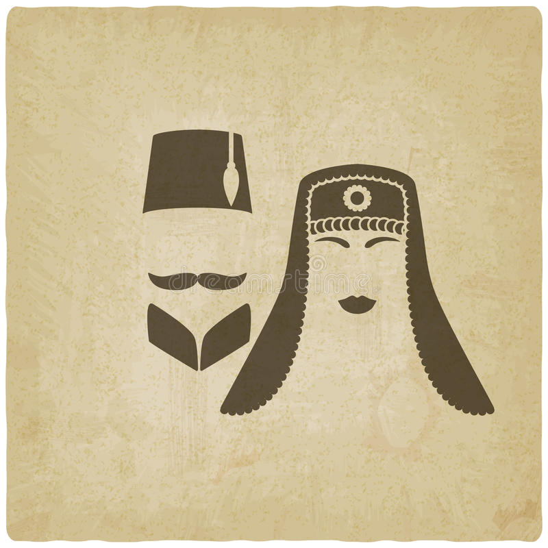 Turkish man and woman old background stock illustration