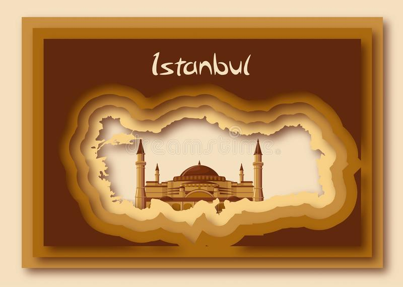 Turkish map silhouette in modern paper cut out style with Hagia Sofia and word Istanbul. vector illustration