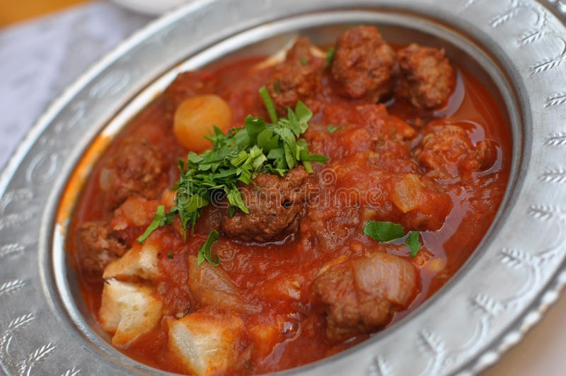 Turkish meatballs. Turkish kebab with meatballs, silver plate royalty free stock photography