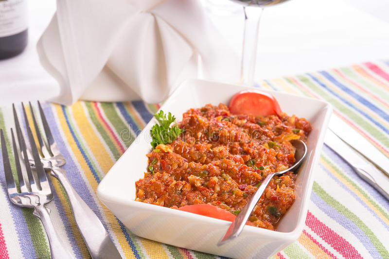 Turkish Meze Served On Colorful Placemat Royalty Free Stock Photography