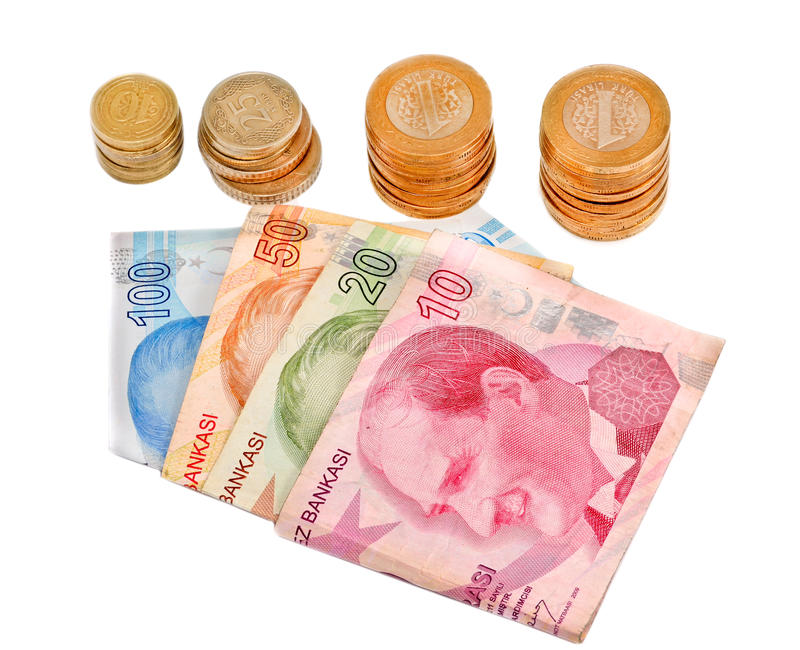 Turkish money on white background. Turkish lira banknotes and coin isolated royalty free stock images