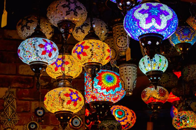 Turkish or Moroccan glass tea light hanging lantern on display a stock images