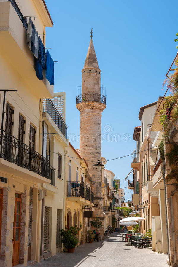 Turkish mosque in Chania. Crete, Greece. The Mosque of Gazi Husein Pasha in Chania. Crete, Greece stock photos