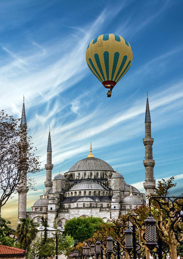 Turkish mosque Istanbul, Turkey. Blue mosque Sultanahmet.  royalty free stock photography