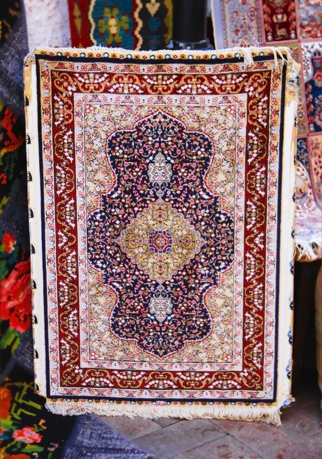 Turkish national traditional multicolored wool carpet stock images