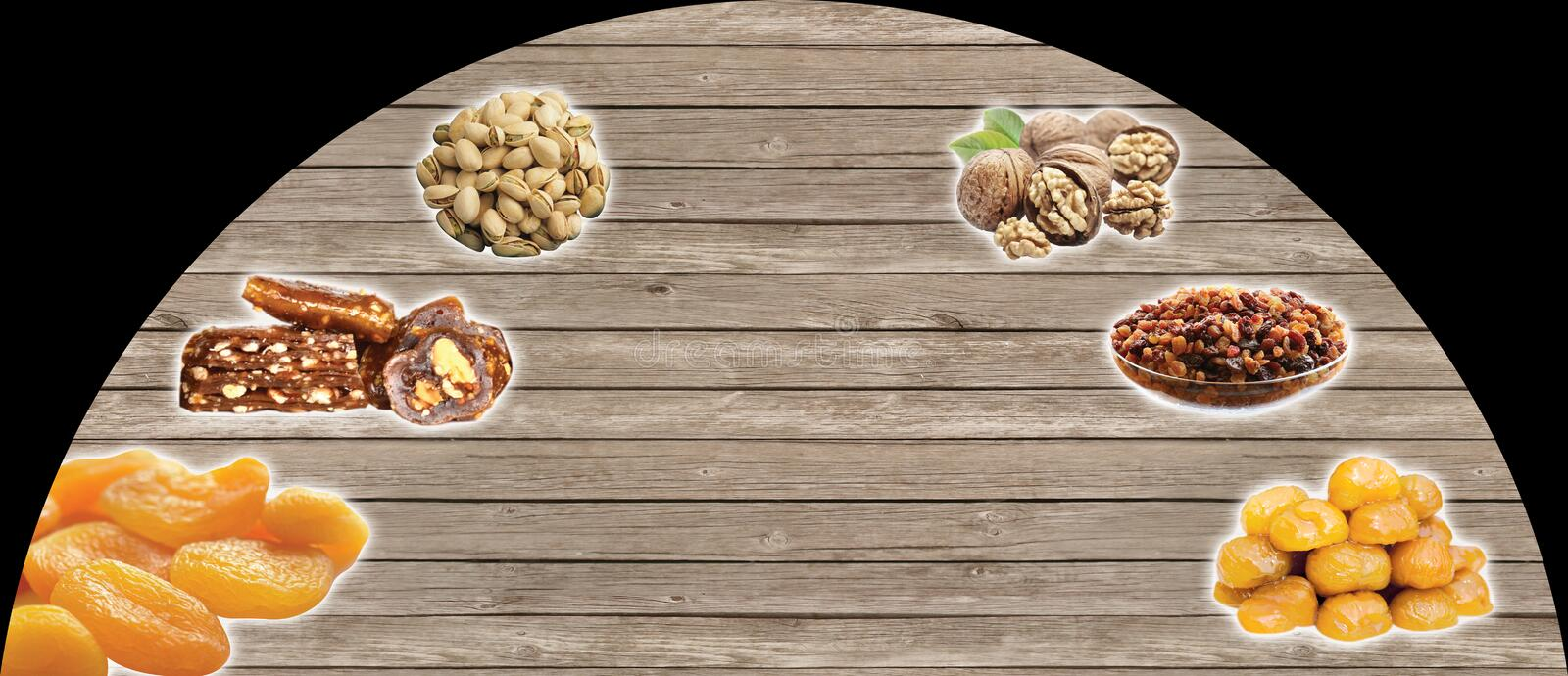 Turkish nuts, Turkish Speak:kuruyemis. Ceviz, cezerye, kestane ÅŸekeri. There is free space for writing royalty free stock image