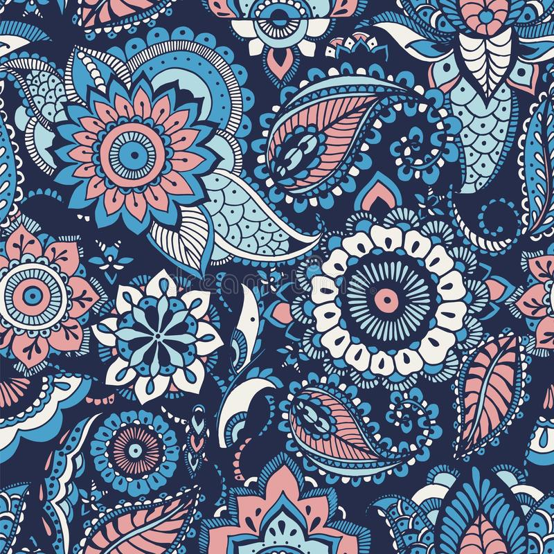 Turkish paisley seamless pattern with buta motifs and Arabic floral mehndi elements on blue background. Colorful vector illustration