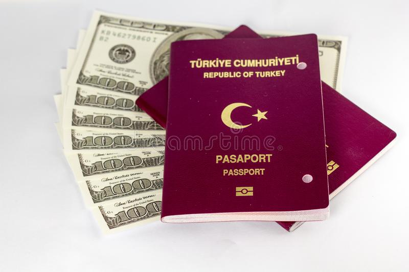 Turkish Passport and Dollars on white background royalty free stock image
