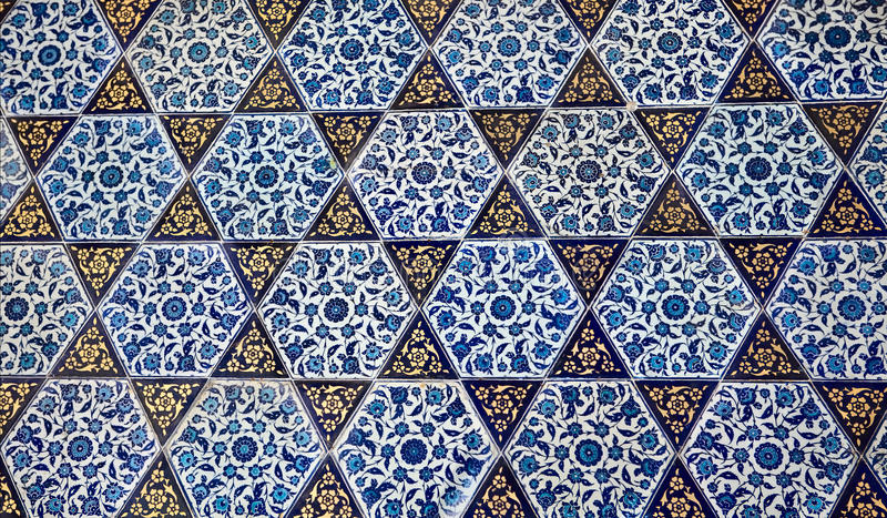 Turkish pattern wallpaper. Textures of the blue Turkish pattern wallpaper stock photo