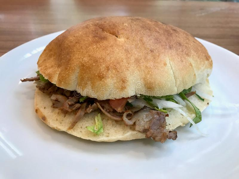 Turkish Pide Doner Sandwich / Traditional Fast Food stock photos