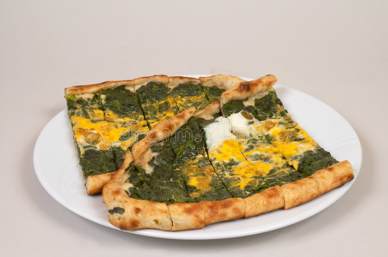 Turkish Pide - Spinach Stock Image