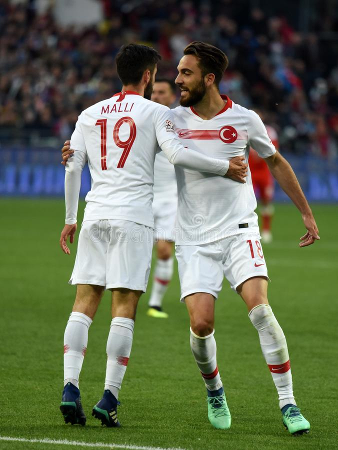 Turkish player Yunus Malli celebrating his goal with Kenan Karaman during international friendly against Russia at VEB Arena. Moscow, Russia - June 5, 2018 royalty free stock photo