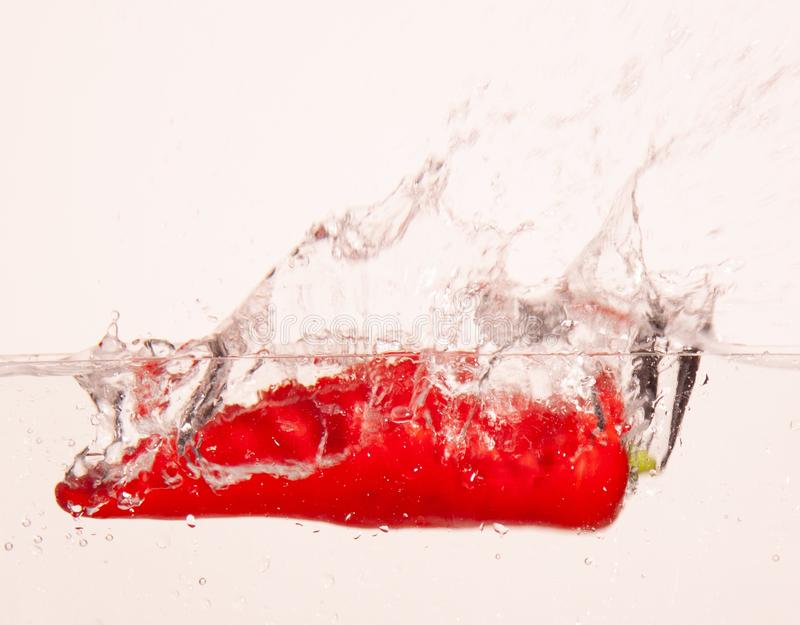 Turkish red pepper falling in water stock image