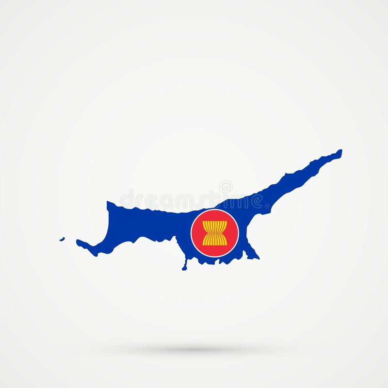 Turkish Republic of Northern Cyprus TRNC map in Association of Southeast Asian Nations ASEAN flag colors, editable vector.  stock illustration