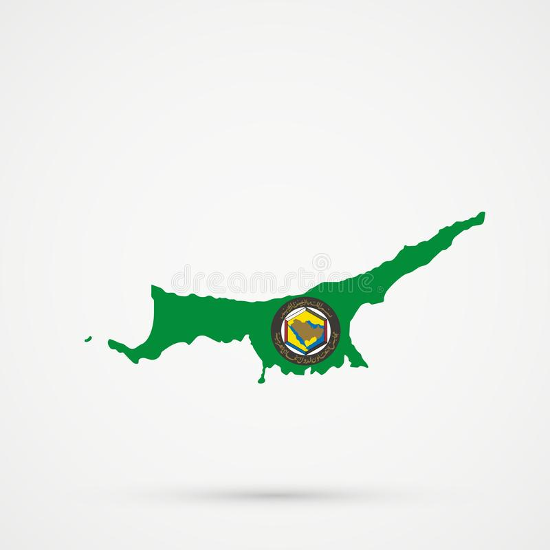Turkish Republic of Northern Cyprus TRNC map in Cooperation Council for the Arab States of the Gulf GCC flag colors, editable. Vector vector illustration