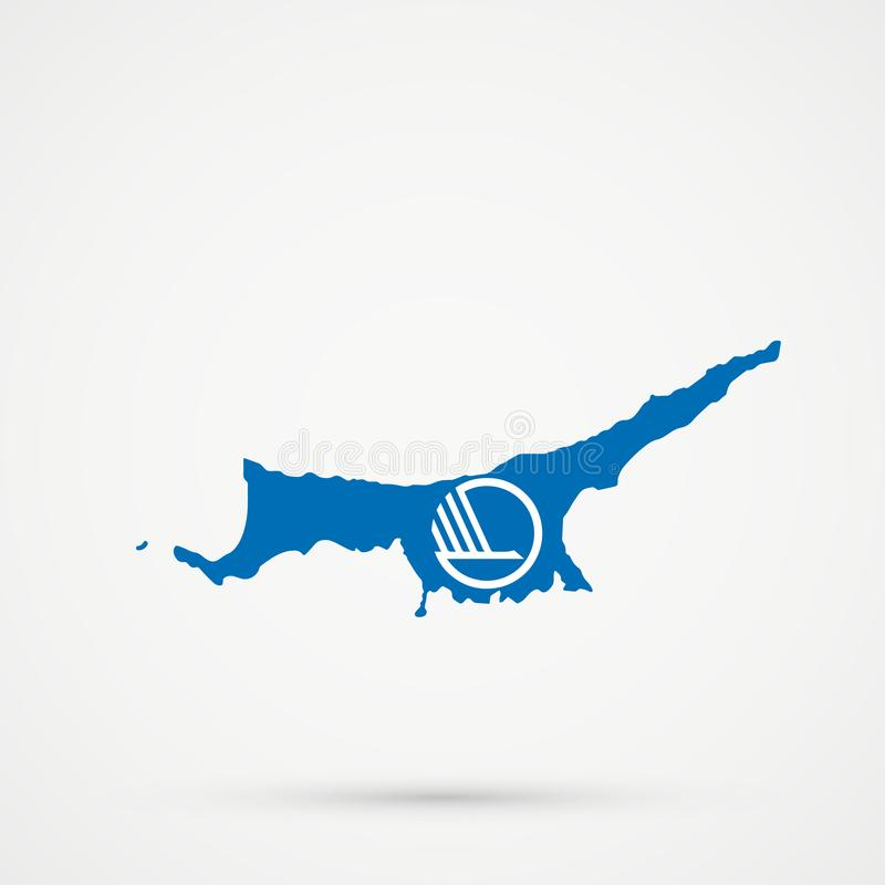 Turkish Republic of Northern Cyprus TRNC map in Nordic Council flag colors, editable vector.  stock illustration