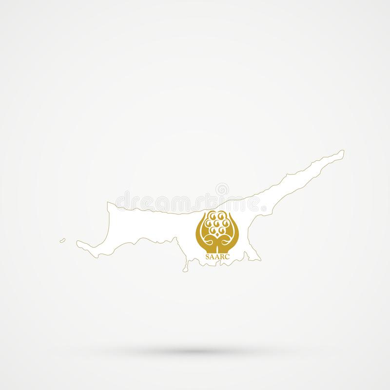 Turkish Republic of Northern Cyprus TRNC map in South Asian Association for Regional Cooperation SAARC flag colors, editable. Vector vector illustration