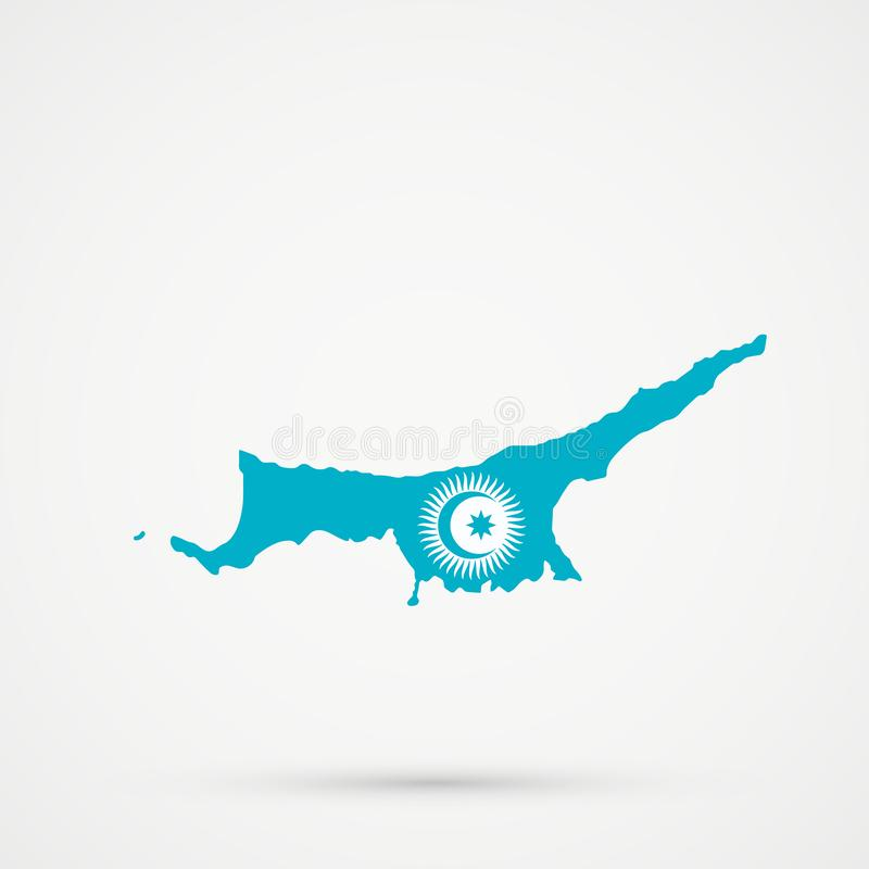 Turkish Republic of Northern Cyprus TRNC map in Turkic Council flag colors, editable vector.  vector illustration