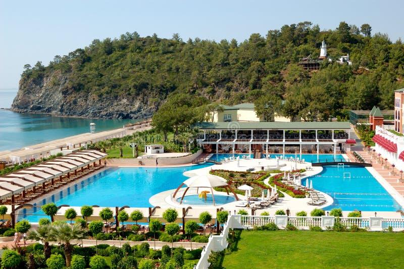 Turkish resort at Mediterranean Sea. Antalya, Turkey royalty free stock photo