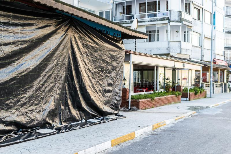 Turkish Restaurant Restoration In Cinarcik Town - Turkey. A traditional Turkish restaurant on restoration in Town Center of Cinarcik with the view from its royalty free stock images