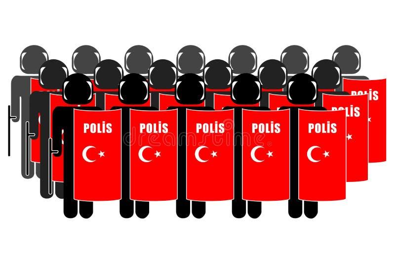 Turkish Riot Police. Silhouette of Turkish Anti-Riot Police royalty free illustration