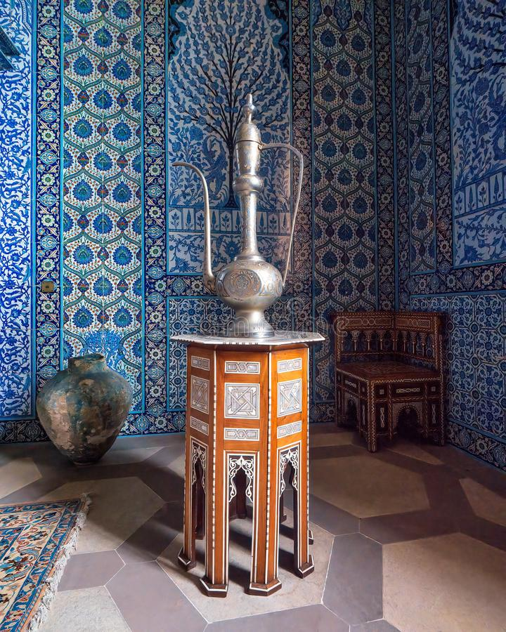 The Turkish Room, Sledmere House, Yorkshire,. A traditional Turkish Ibrik, a pitcher or ewer, on display in the Turkish Room at Sledmere House in Yorkshire stock photos