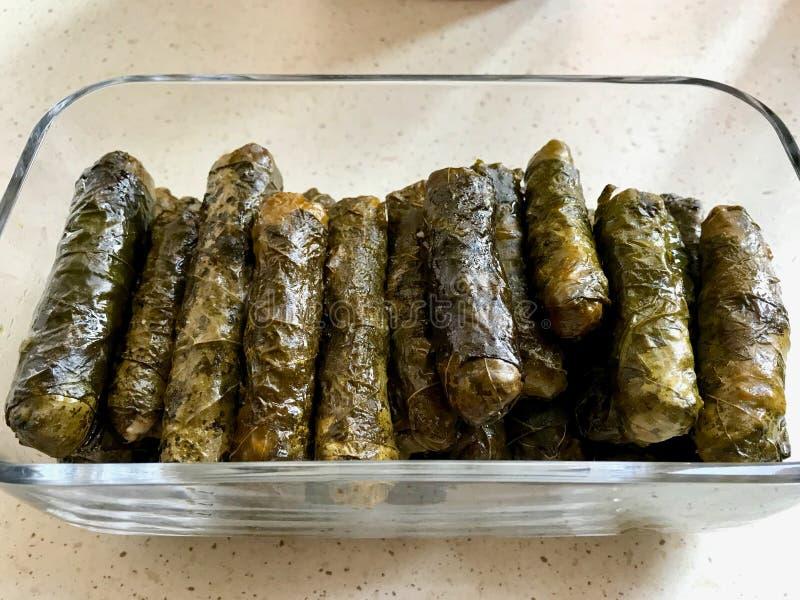 Turkish Sarma Zeytinyagli Dolma / Stuffed Grape Leaves. Traditional Turkish Food. Organic Food stock photography