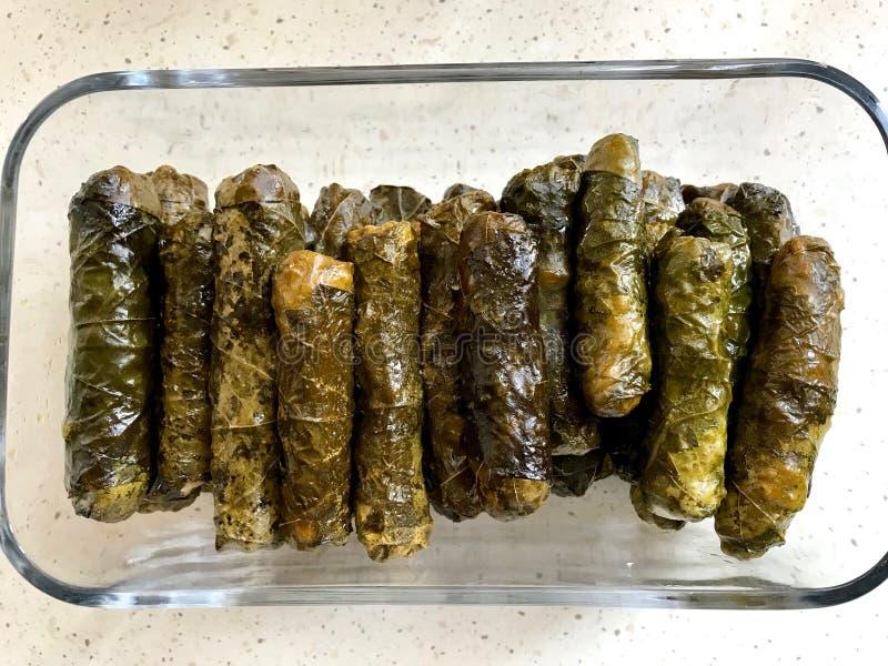 Turkish Sarma Zeytinyagli Dolma / Stuffed Grape Leaves. Traditional Turkish Food. Organic Food royalty free stock images