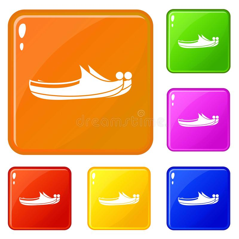 Turkish shoes icons set vector color. Turkish shoes icons set collection vector 6 color isolated on white background vector illustration