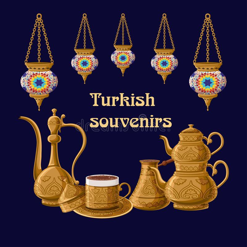 Turkish souvenirs greeeting card template with lanterns and brass utensils pitcher, double kettle, cezve amd coffe cup. Turkish souvenirs greeeting card vector illustration
