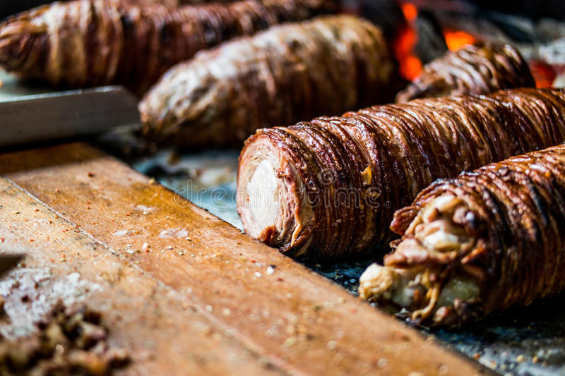Turkish Street Food Kokorec made with sheep bowel cooked in wood fired oven. Fast food stock image