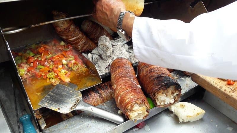 Turkish Street Food Kokorec made with sheep bowel. Traditional fast food stock image