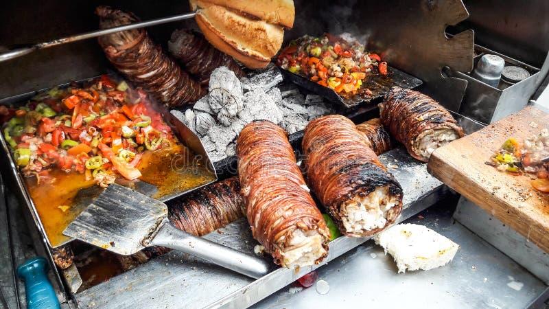 Turkish Street Food Kokorec made with sheep bowel. Traditional fast food stock photography