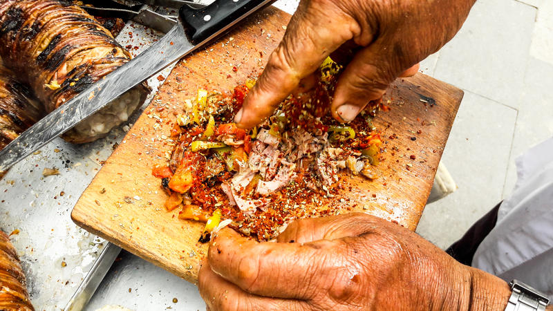 Turkish Street Food Kokorec made with sheep bowel. Traditional fast food royalty free stock photos