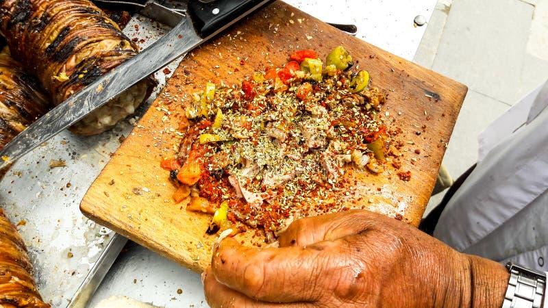 Turkish Street Food Kokorec made with sheep bowel. Traditional fast food royalty free stock photo