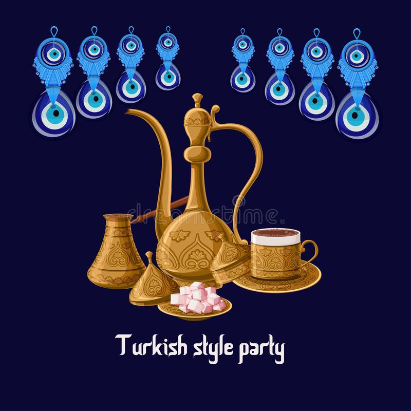 Turkish style party greeeting card with evil eyes and brass utensils pitcher, turkish delights, cezve and coffe cup. Turkish style party greeeting card template royalty free illustration