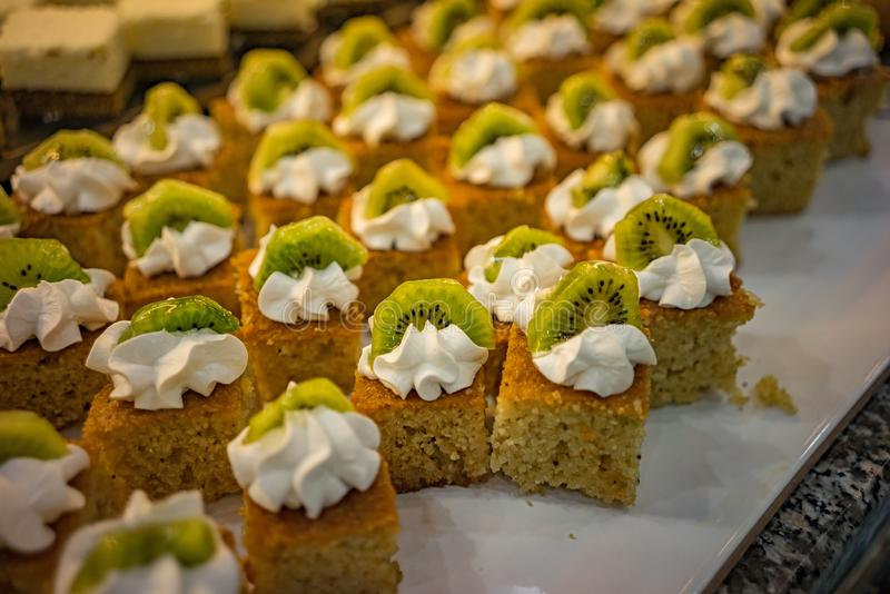 Turkish sweets on the table laid out beautifully for lunch. Eid al-Fitr royalty free stock images