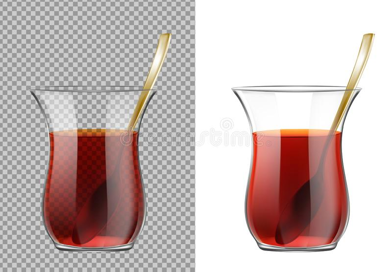 Turkish tea cup with black tea and gold spoon.  royalty free illustration