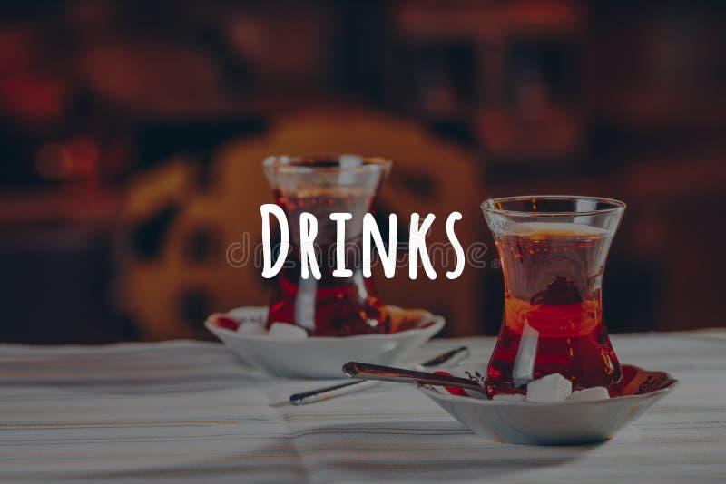 Turkish tea in the restaurant. Turkish cuisine and travel concept. Drinks wording. Turkish tea in the restaurant. Turkish cuisine and travel concept. Horizontal stock photography