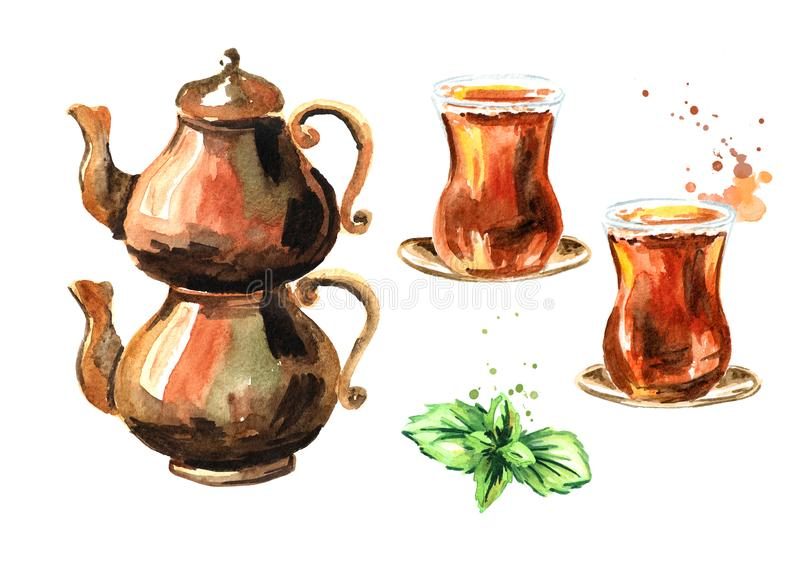 Turkish tea in traditional glass with mint leaves and with copper tea pot set. Watercolor hand drawn illustration, isolated on whi stock illustration