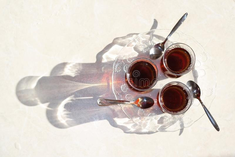 Turkish tea, Turkish teas, healthy tea, Turkish tea in particular thin glass. Turkish culture royalty free stock image